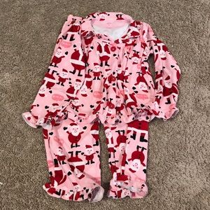 CARTERS pink santa claus button down jammies
